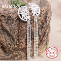 New Retro 100% Real Pure 925 Sterling Silver Jewelry Earring Bamboo Leaves Tassel Drop Earrings for Women Best Gifts SY31159