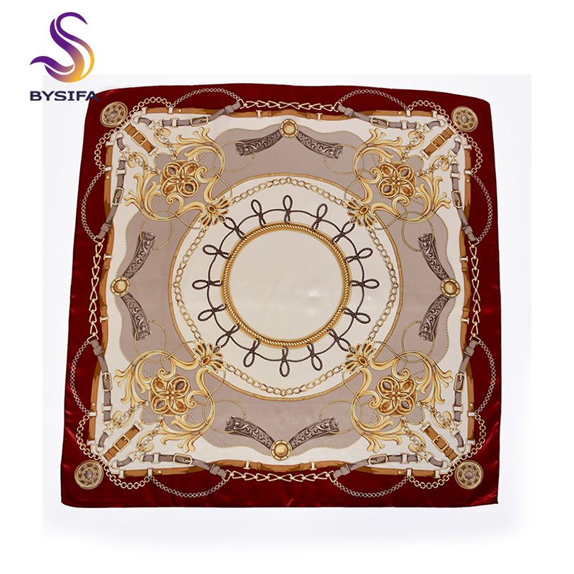 [BYSIFA] Wine Red Women Silk Scarf Shawl Bandana 2019 New Chain Style Head  Scarf Neck Scarf Spring Fall Large Square Scarves
