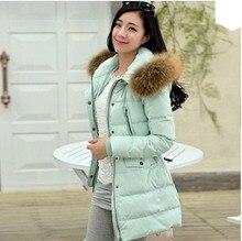 Зимняя куртка женщины тонкий настоящее меховым воротником толстый слой с капюшоном средней длины утка вниз куртка плюс размер верхней одежды повседневная пальто AE345