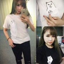 2015 new Hong Kong fashion pocket Harajuku wild cat lovers big yards women wear short-sleeved T-shirt