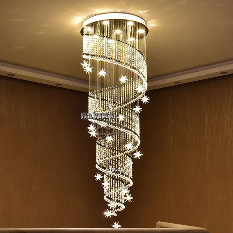 NAVIMC moon and star spiral design crystal chandelier lustre stair light fixture for hotel hallway moon and sixpence