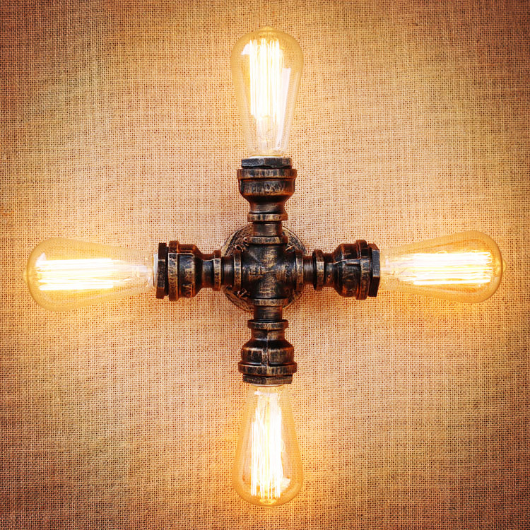 Edison Wall Sconces Retro Vintage Wall Lamp Loft Industrial Home Lighting Water Pipe Wall light Apliques Murales LED