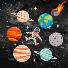 Prajna  12 Style Iron-On Universe Astronaut Planet Patch Stickers Patches For Clothing Embroidery D1 A1
