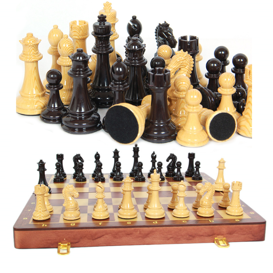 BSTFAMLY chess set game, portable game of international chess, ABS and metal chess pieces wood chessboard, King height 9cm, LA29 купить