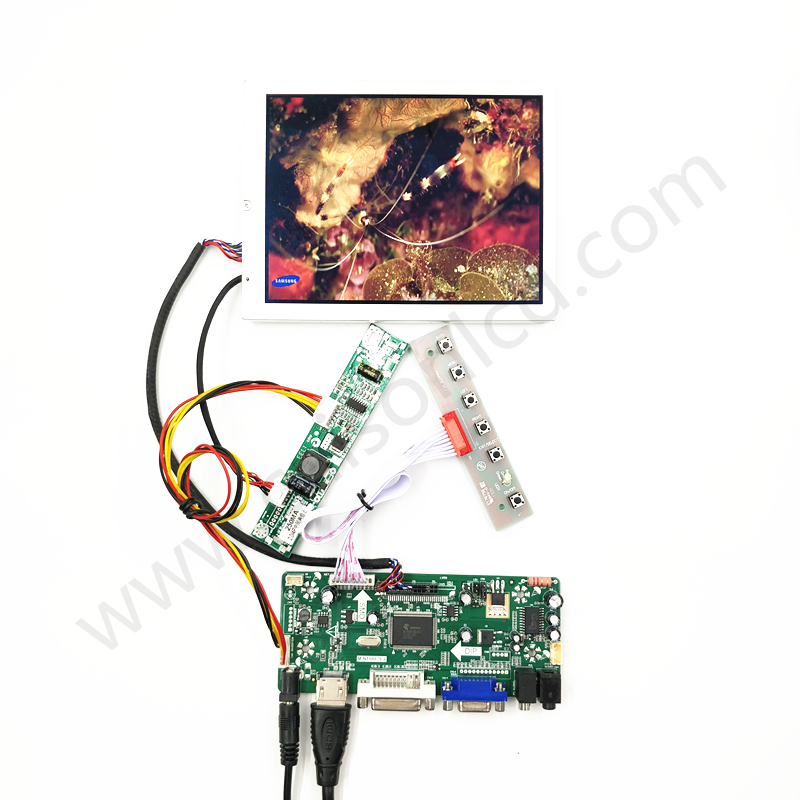 HDMI+VGA +DVI+Audio lcd controller board driver 6.5 inch LCD kits with 1024*768,650 cd free shipping vga audio hdmi dvi lcd controller board hdmi dvi for 10 1 inch 1024x600 n101l6 l0a n101l6 l02 wled lvds lcd panel