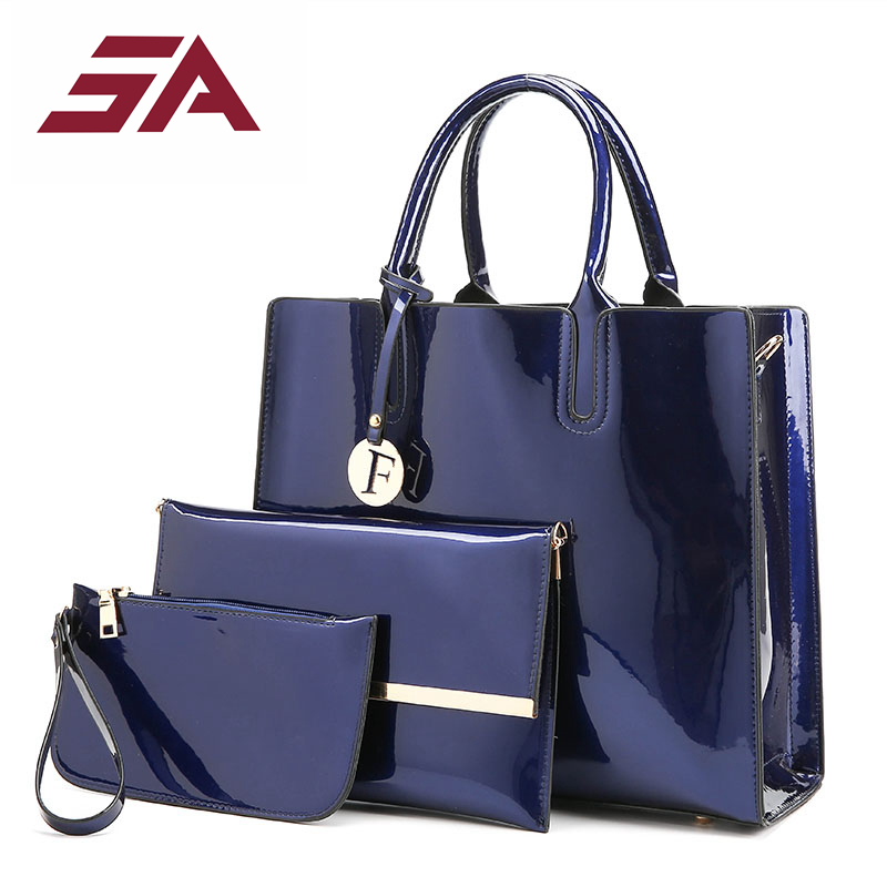 SA Women bag Tote Luxury Patent Lady Leather Purse Handbag Famous Brands Female Shoulder Bag Shipping Composite Bag 3 pcs/sets miesati luxury 3 sets handbag women composite bag female large capacity tote bag fashion shoulder crossbody bag small purse
