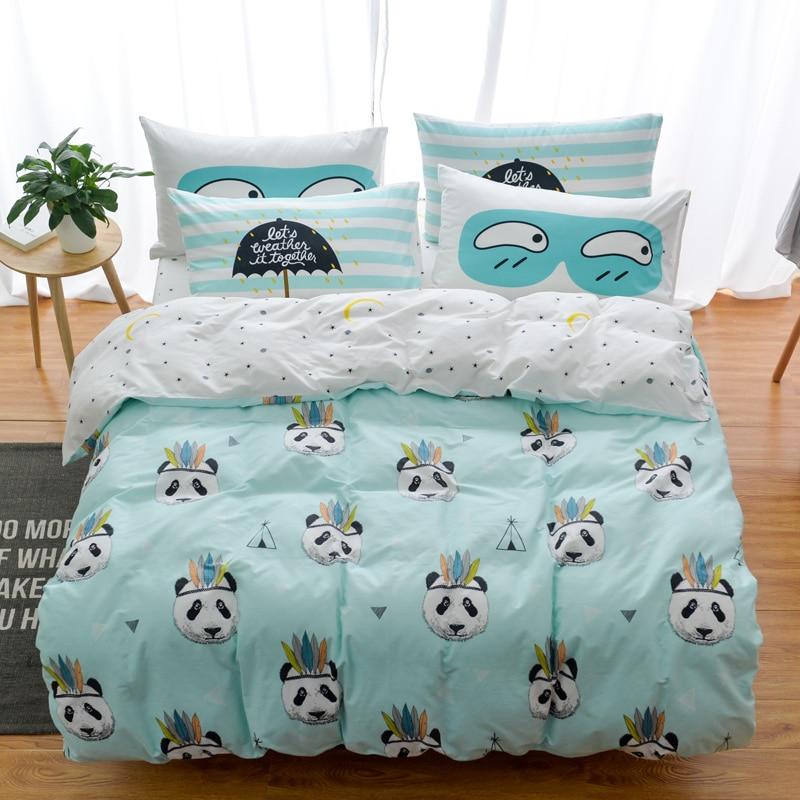 100% Cotton Owl Panda Fox Cat Bedding Set Cartoon Modern Flower Queen Size Stripe Bed Duvet Cover Bed Sheet Bed Linen Pillow