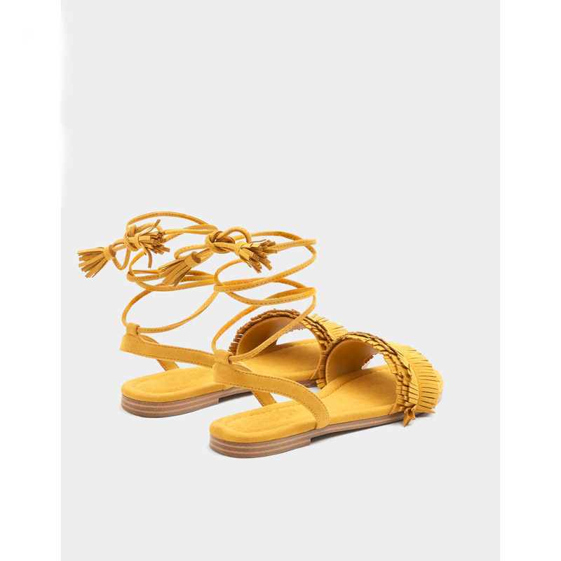 Moraima Snc New Lace Sandals Summer 2019 Open-toed Cross-Lace Roman Shoes Ankle Strap Yellow Flat With Woman Sandals Lady ShoesMoraima Snc New Lace Sandals Summer 2019 Open-toed Cross-Lace Roman Shoes Ankle Strap Yellow Flat With Woman Sandals Lady Shoes