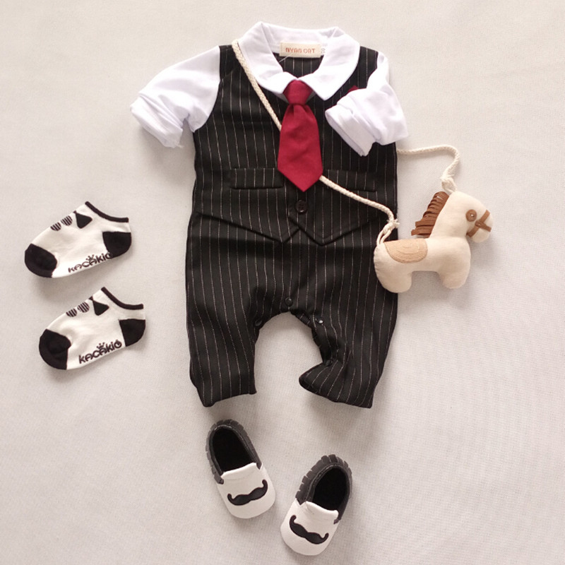 Bodysuits & One-pieces Baby Gentleman Clothes Baby Bebe Menino Infant Rompers Toddler Boy Vest Tie Striped Cotton Romper Jumpsuit Wedding Clothing