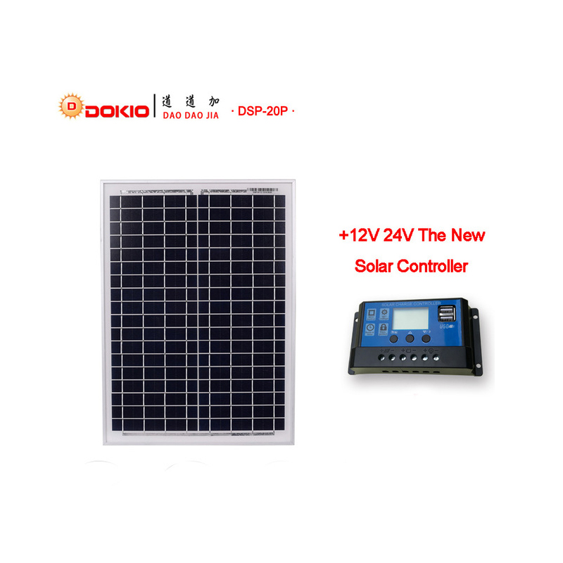 цена на DOKIO Solar Panel 18V 20W 480x350x17mm Polycrystalline Solar Cells China Silicon Power placa solar