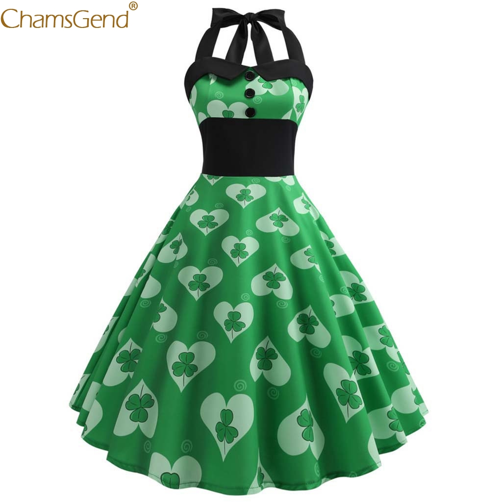 Women Dress Green Vintage Retro Halter Sleeveless Prom Swing Dress A-Line Dress Sexy Ladies Evening Party Spring Autumn Dec22