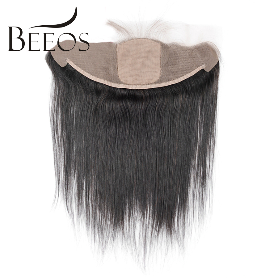 Beeos Straight Silk Base Frontal Bleached Knots 13x4 Ear to Ear Silk Lace Frontal Closure with Baby Hair Remy Human Hair