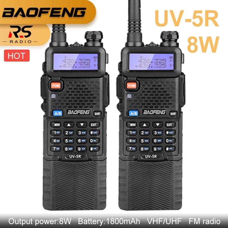 BAOFENG UV 5R 8W Walkie Talkie 3800mAh Dual Band Transmitter VHF UHF Ham CB Radio Station HF Transceiver Scrambler Scanner VOX