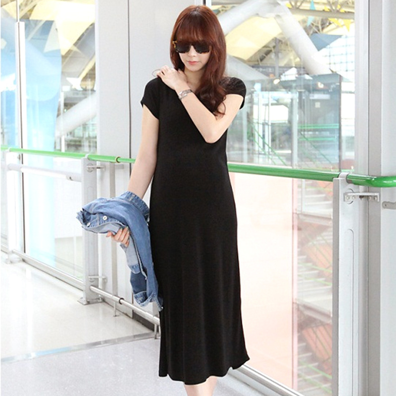 Summer Long Pregnancy Dresses Casual Pregnant Women Maternity Dresses BlackGrey Comfortable Maternity Dress O-NeckPregnant Dress