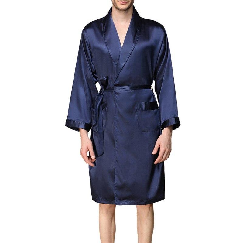 Laamei Sommer Faux Silk Kimono Robe Männer Fashion Solid Bademantel Nachtwäsche Pyjamas Casual Langarm Strickjacke Kleidung Männlichen
