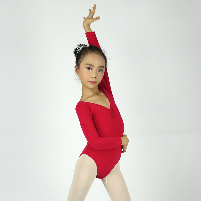 3ba299da1 Child Long Sleeve Ballet Leotard Gymnastic Leotard Girls Cotton ...
