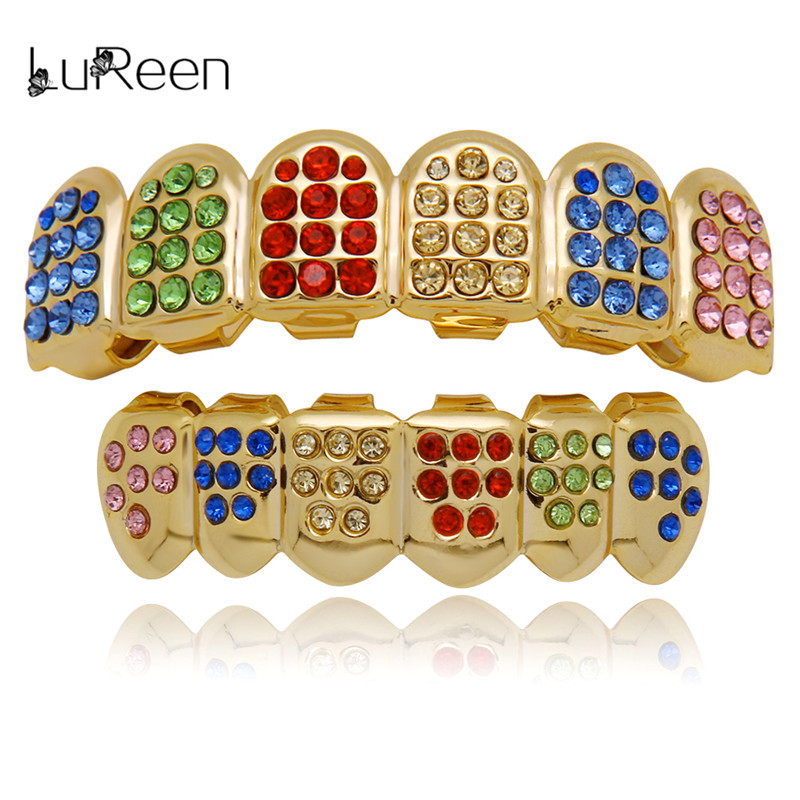 LuReen Colorful Teeth Grillz Top&Bottom  CZ Grills Dental Hip Hop Vampire Teeth Caps Grill Mouth Body Jewelry Party birthday cake