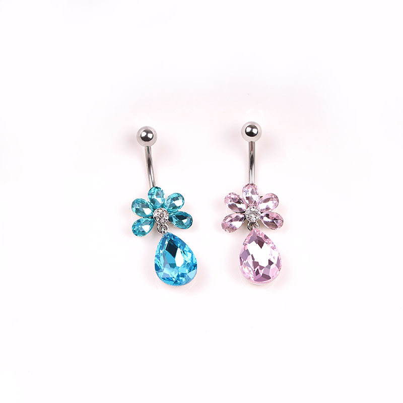 nail accessories Medical steel thick needle allergy navel buckle Shining crystal droplets umbilical ring dancers buckle