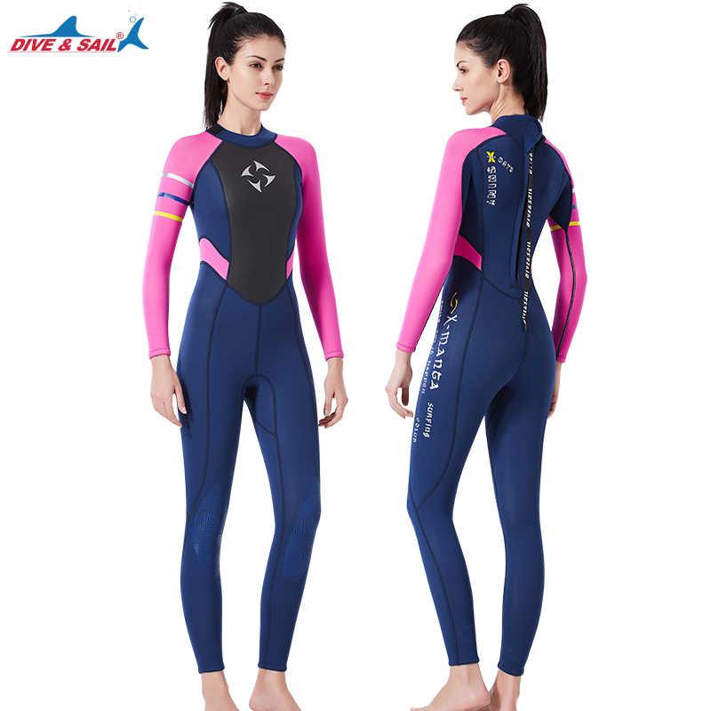 39aed5976c4 ... Women s Fullsleeve 3MM Neoprene Wetsuit Full Body Wetsuit Pink Black Scuba  Diving Thermal Full Suit ...