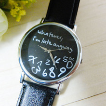 Supper enjoyable Sizzling relogio feminino Trend Ladies Leather-based Watch No matter I'm Late Anyway Letter Watches jan20