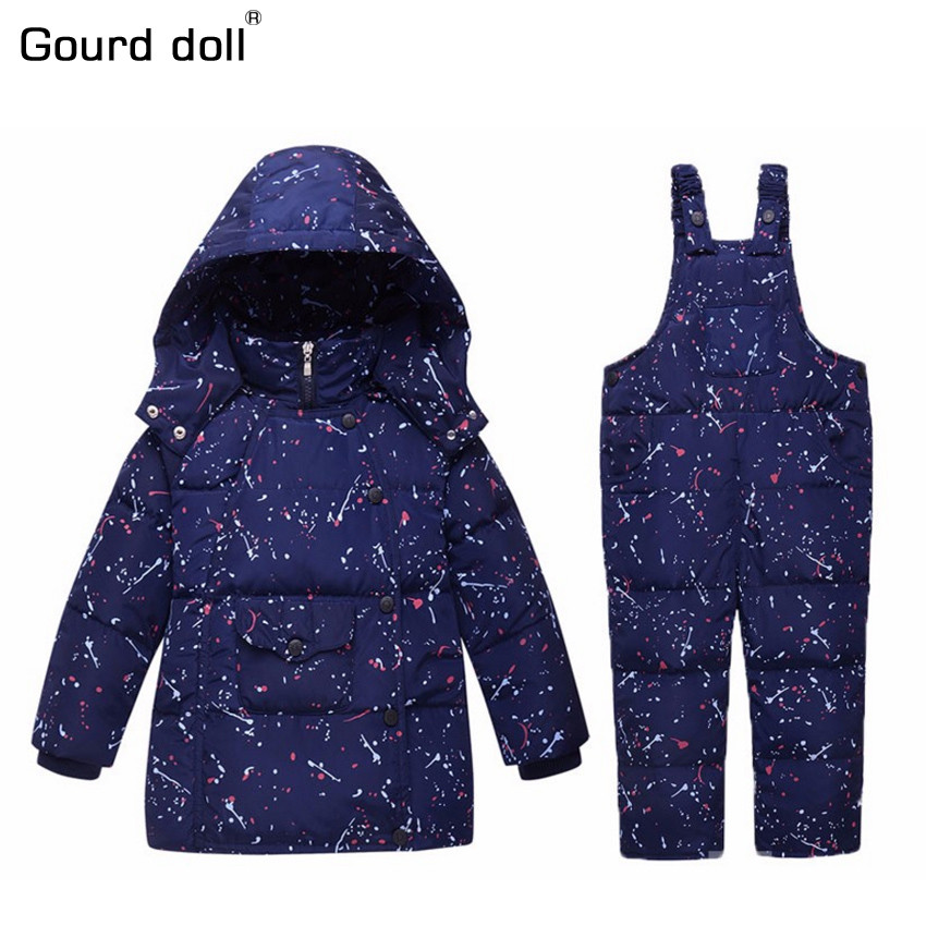 Gourd doll Russian Baby Winter Clothing Set 90% Duck Down Snowsuit Kids Snow Wear Overalls For Baby Boy Girl Outerwear & Coats 2016 winter boys ski suit set children s snowsuit for baby girl snow overalls ntural fur down jackets trousers clothing sets