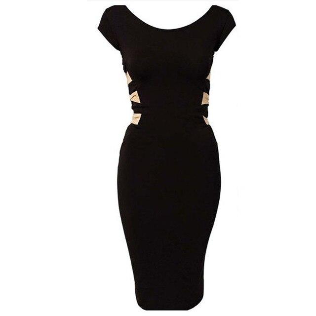 9050 Plus Size 2015 New European Fashion Women Sexy Knee Length Black Bodycon Bandage Dress Celebrity Casual Dress 9050