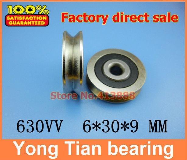 купить High Quality  6mm V Groove steel roller bearings 630VV 6*30*9 mm bearing V630 V630-2RS 630V по цене 299.95 рублей