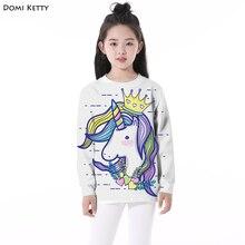 Domi Ketty crianças hoodies impressão unicórnio coroa bonito meninos meninas casual manga comprida camisolas dos miúdos dos desenhos animados roupas pullover