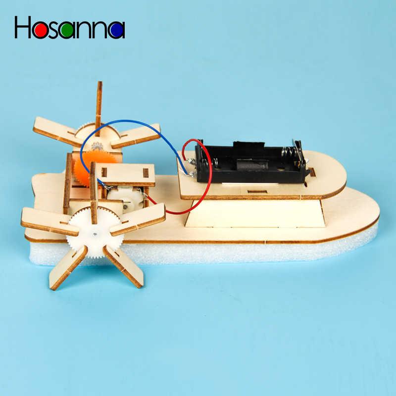 Anak-anak DIY Motor Listrik Perahu Kayu Ilmu Model Kit Utama Siswa Sekolah Fisika Belajar Mainan Pendidikan untuk Anak-anak