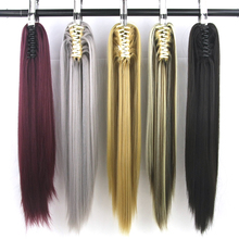 Soowee 15 Colors Straight Clip In Hair Extensions Gray Little Pony Tail High Temperature Fiber Synthetic Hair Long Claw Ponytail