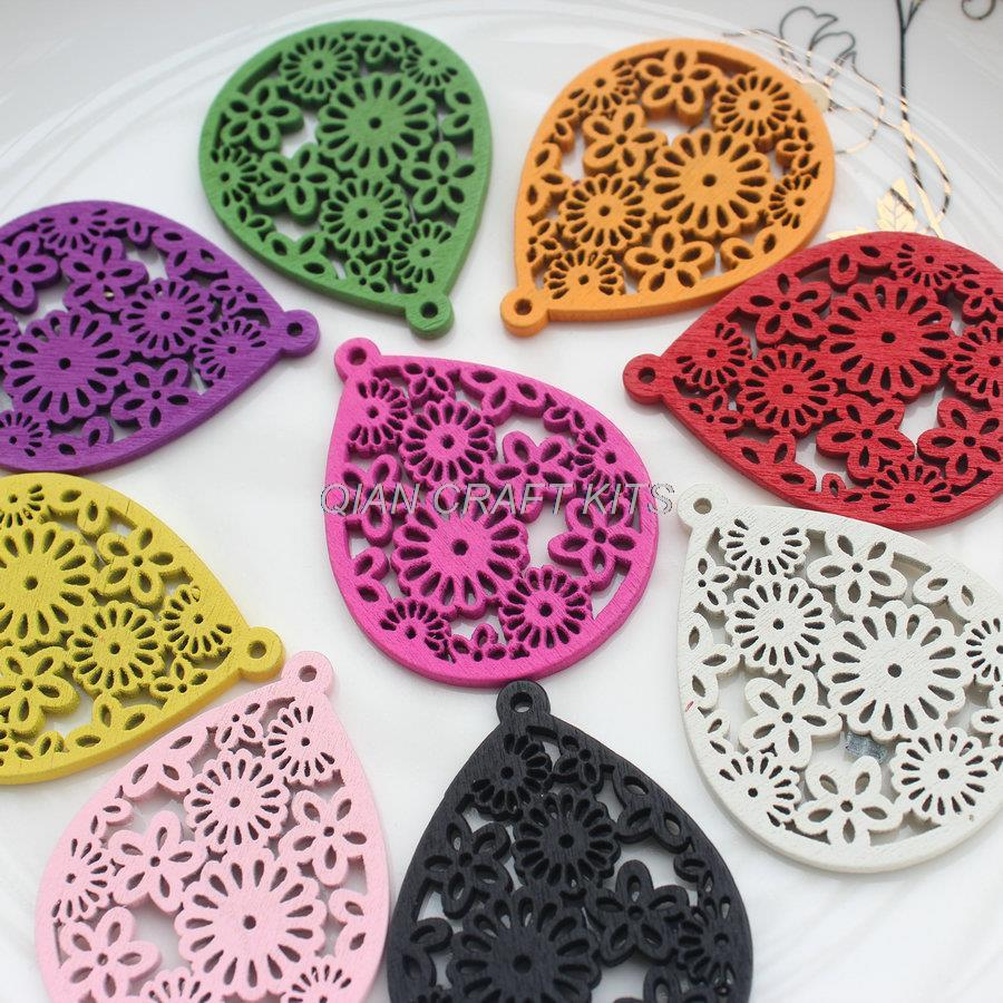 Image 3 - 120pcs Large mixed colors Filigree wood Wooden pendants for Earrings, statement jewelry diy 38*50mm Accessory-in Jewelry Findings & Components from Jewelry & Accessories