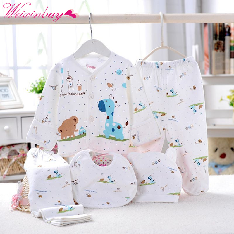 5 Pcs Newborn Baby Boy Girl Clothing Set Cotton Cartoon Monk Tops Pants Bib Hats Infant Clothes 0-3 Months newborn cotton cartoon baby boy girl clothing set infant elephant words printed t shirt tops pants shortsleeve kids clothesst230