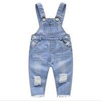 Nowy 2018 wiosna baby boy hole denim ogólnie fashion style kids jeans dziewczynka romper dzieci denim spodnie jeansowe