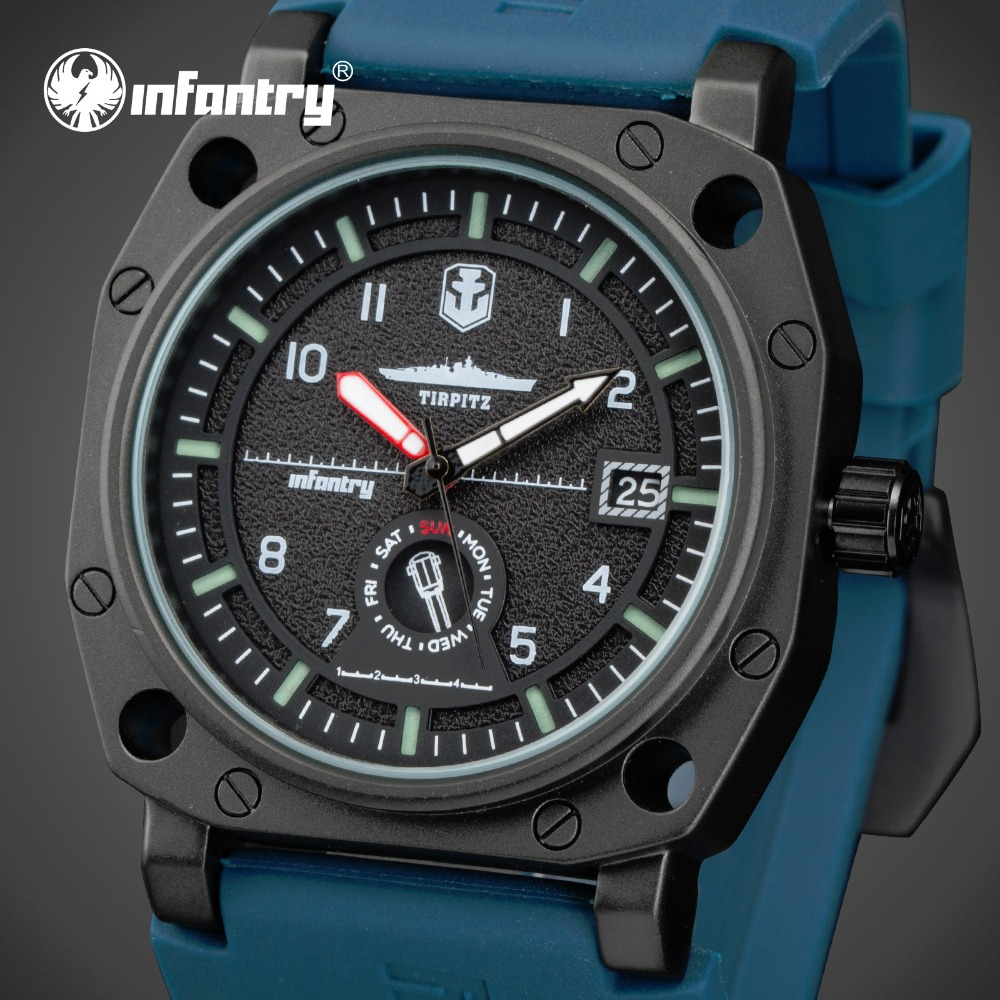 ФОТО INFANTRY Japan Quartz Watch Men Luxury Brand Rubber Strap Wristwatches Big Dial Waterproof Luminous Clocks Relogio Masculino