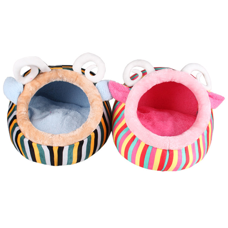 New Arrival Pet House for Puppy Cat Dog Cute Sheep Shape Short Pile Warm Red/Green Strip ...
