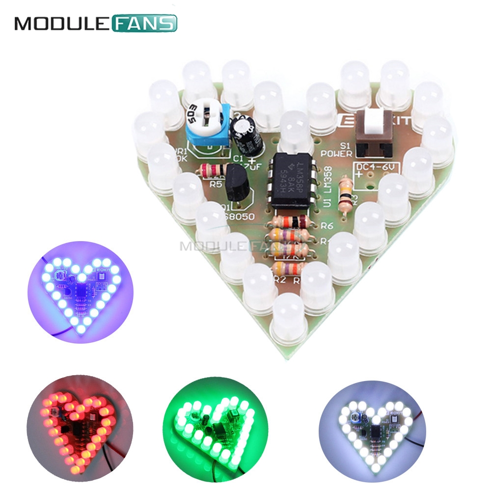 4017 Running Water Light Diy Making Kit Ne555 Led Display Board In 3v Chaser Audioguru General There Are Many 9v Circuits That Heart Shape Breathing Lamp Dc 4v 6v Suite Red White