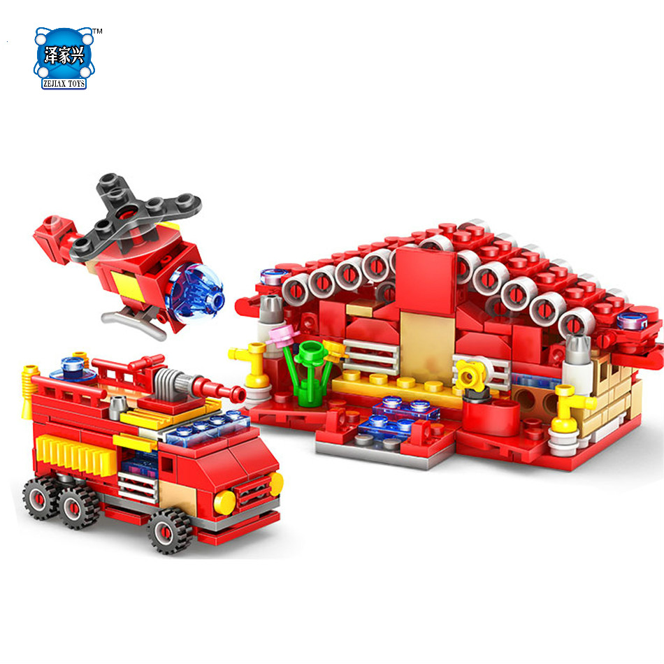 414pcs Fire Station Truck Helicopter DIY Building Blocks Set Compatible Lepins City Enlighten Construction Bricks Children Toys enlighten city express station truck building blocks set courier minifigures kids educational toys compatible with legoep