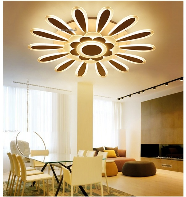 led flower type acrylic ceiling lamp simple bedroom lamp round living room lamp hotel villa dimming - Simple Ceiling Lights For Living Room