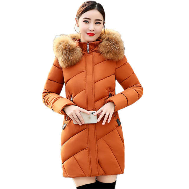 81577f53bfd Female Down Jacket Warm Thick Large Fur Cotton-padded Coat Winter Long  Parka Women Orange Gray Black Red Outerwear Clothing