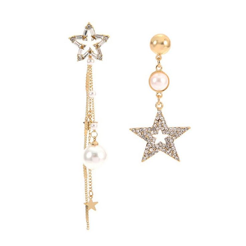 Korean Version Of The New Silver Needle Asymmetric Five Pointed Star Pearl Tassel Earrings in Drop Earrings from Jewelry Accessories