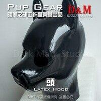 (LM9152) Высокое качество 100% натуральный целую голову латекс маска собаки резиновая капюшон Training задохнуться feitsh маска
