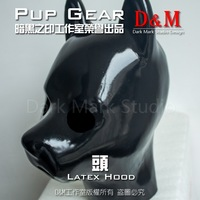 (LM9152)Top quality 100% natural full head latex dog mask rubber hood Training suffocate feitsh Mask