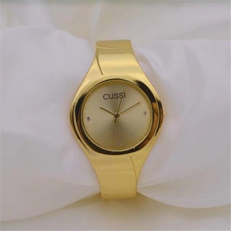 CUSSI Golden femmes Bracelet montres TOP marque de luxe dames robe montres Quartz montres horloge Reloj Mujer amant cadeauxCUSSI Golden femmes Bracelet montres TOP marque de luxe dames robe montres Quartz montres horloge Reloj Mujer amant cadeaux