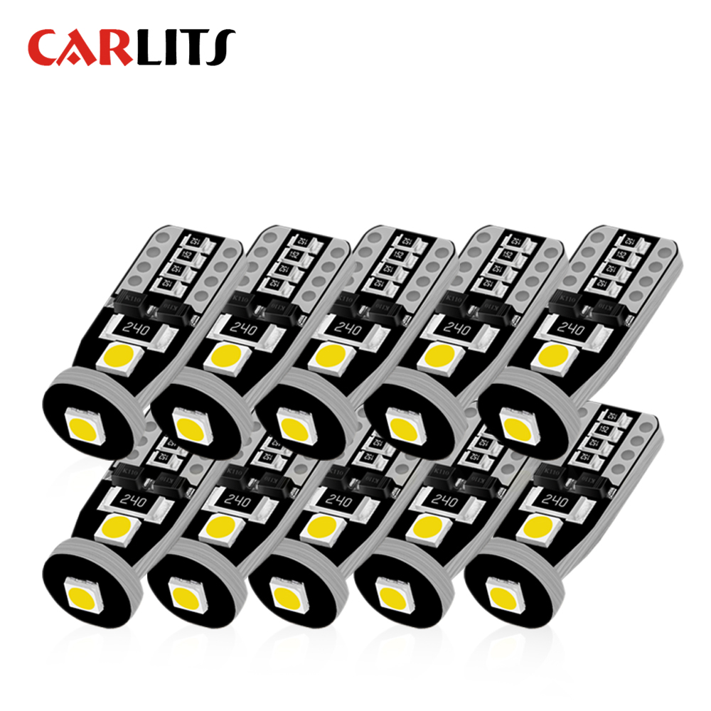 цена на 10PCS T10 LED White 3SMD 5050 Led Car Light W5w 194 168 CANBUS Error Bulbs 12V Wedge Lamp Turn Signal Light Band Decoder Sign G