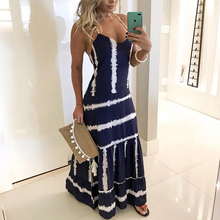 2019 Summer Women Elegant Fashion Long Maxi Prom Party Dress Ladies Sexy Tie Dye Print Tunic Spaghetti Strap