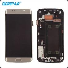 Oro Blanco Azul Para Samsung Galaxy S6 edge G925FQ G925F pantalla LCD de pantalla táctil digitalizador con el Conjunto Del bastidor del Bisel de reparación partes