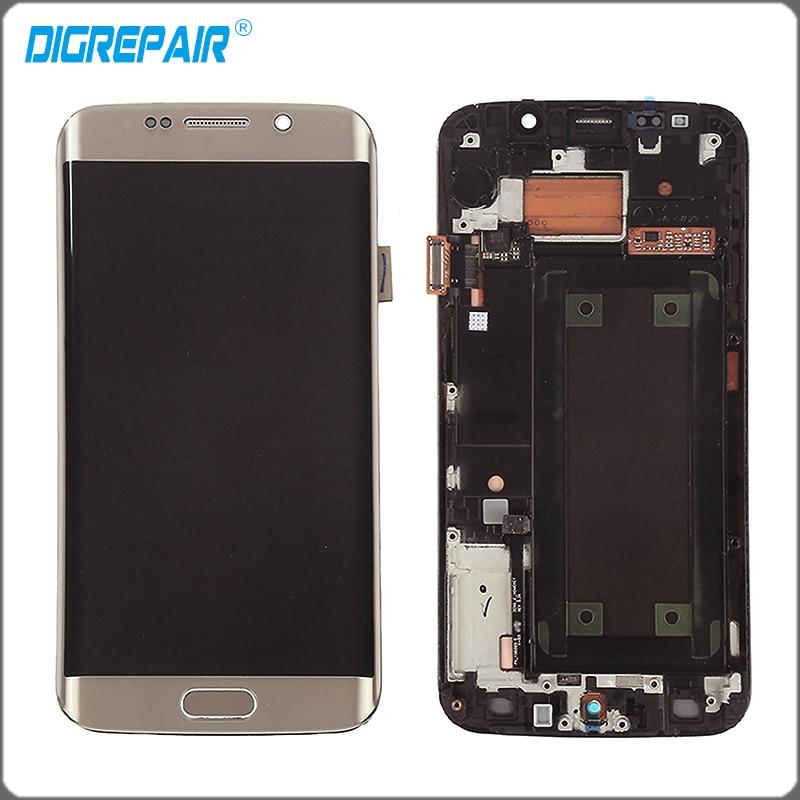 imágenes para Oro Blanco Azul Para Samsung Galaxy S6 edge G925FQ G925F pantalla LCD de pantalla táctil digitalizador con el Conjunto Del bastidor del Bisel de reparación partes