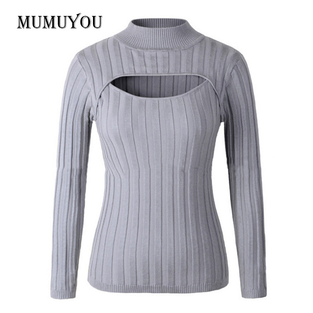 Sexy Women Girls Japan Open Chest Jumper Sweater Turtleneck Long Sleeve  Stretch Knitted Slim Fitted Pullover