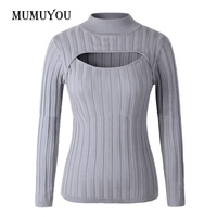 Sexy Women Girls Japan Open Chest Jumper Sweater Turtleneck Long Sleeve Stretch Knitted Slim Fitted Pullover Top 200-A374