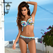 Bikinis 2019 Mujer Woman Swimsuit Push Up Bikini Swimwear Sexy Biquini Patchwork Girl Bathing Suit Plus Size Halter Beachwear